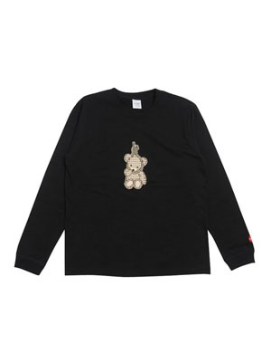 FLOWP(フロープ)/ GINGHAM KUMA LS T-SHIRT -BLACK-